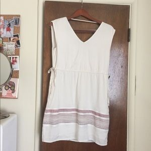 Cream sundress with dusty pink detail